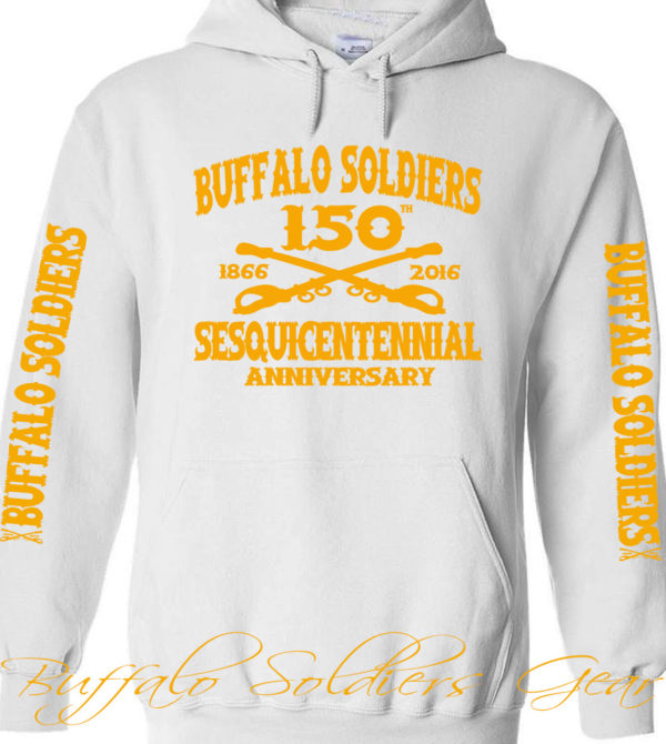Buffalo Soldiers Sesquicentennial Anniversary White Hoodie